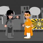 Good superhero versus villain — Stock Vector #49302323