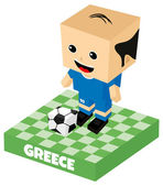 Greece soccer character — Vettoriale Stock
