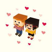 Love couple cartoon — Stock vektor