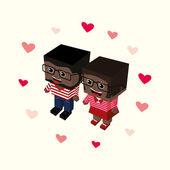 Love paar cartoon — Stockvector