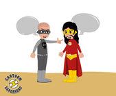 Good superhero versus villain — Stock Vector
