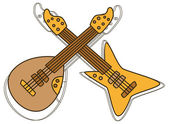 Guitar king outline set — Stock Vector