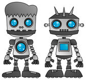 Steel robot with hair — Stock Vector
