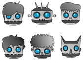 Metal robot steel head set — Vector de stock