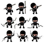 Ninja warrior cartoon set — Vector de stock