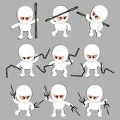 White vintage ninja warrior — Stock Vector