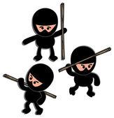 Ninja warrior cartoon set — Stock Vector