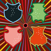 Cartoon heraldry and shield — Stock Vector