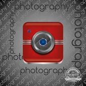 Red camera interface icon button — Stock Vector