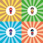 Adorable flat cartoon heroes — Stock Vector