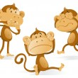 See Hear Speak No Evil Monkeys. — Stock Vector