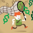 Corporate Guy chases the dollar — Stock Vector