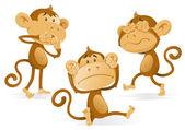 Voir entendre ne parler aucuns maléfiques singes. — Vecteur