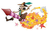 Guy Fawkes flying on a firework rocket. — Stock Vector