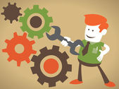 Corporate Guy Fixes the machine — Stock Vector