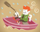 Corporate kerel is alle op zee zonder een paddle — Stockvector