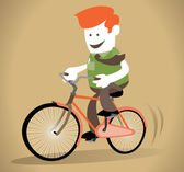 Corporate Guy rides his bicycle. — Stock Vector