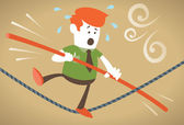 Corporate Guy walks the tightrope — Stock Vector