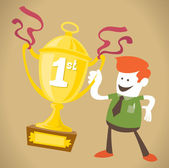 Corporate Guy wins a trophy — Stock Vector