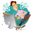 Angry frustrated man destroying his computer — Stock Vector