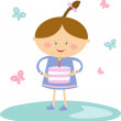 Little girl with her birthday cake. — Stock Vector