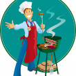 Barbeque Man — Stock Vector