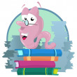 Book worm on a huge pile of books — Stock Vector