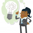 Businesswoman Buddy has a bright idea — Stock Vector