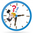 Stock Vector: BusinesswomBuddy is Running out of Time.