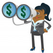 Businesswoman Buddy with Money in her Sights — Stock Vector