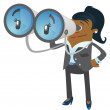 Businesswoman Buddy with his huge binoculars. — Stock Vector