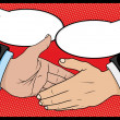 Vintage Style Comic book Handshake with Speech Bubbles — Stock Vector