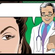 Stock Vector: Comic Style Doctor and WomPatient Talking