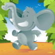 Cute cartoon Elephant running through the jungle. — Stock Vector #33138297