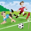 These players clearly have no regard for the rules of the beautiful game — Stock Vector