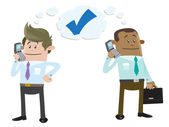 Business Buddies make a deal on the telephone — Stock Vector