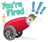 Business Buddy gets fired — Stock Vector