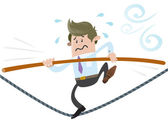 Business Buddy walks the tightrope — Stock Vector
