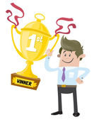 Business Buddy wins a First Prize trophy — Stock Vector