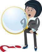 Businesswoman Buddy spies a clue. — Stock Vector