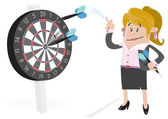 Businesswoman Buddy Hits a Bullseye. — Stock Vector