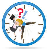 Businesswoman Buddy is Running out of Time. — Stock Vector