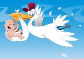 Stork and newborn baby — Stock Vector