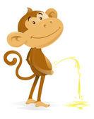 Cheeky Monkey takes the Pee — Stock Vector