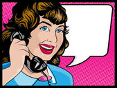 Vintage Comic Style Woman on the Phone — Stock Vector