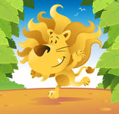Cute cartoon lion running through the jungle. — Stock Vector