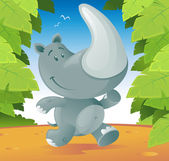 Cute cartoon Rhino running through the jungle. — Stok Vektör
