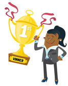 Ethnic Businesswoman Buddy wins a First Prize trophy — Stock Vector