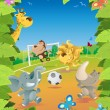 Jungle Animals Soccer Border. — Stock Vector