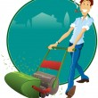 Lawnmower Man — Stock Vector